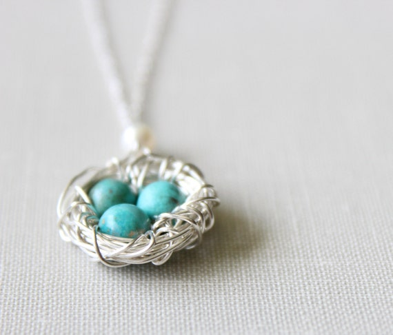 RESERVED LISTING - for Jeremy:  Bird Nest Necklace in Sterling Silver with Turquoise Eggs