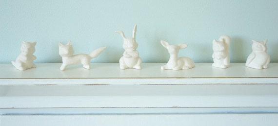 SALE Porcelain Woodland Animals - Tiny Unglazed White Fox, Squirrel, Deer, Rabbit, Owl, Raccoon