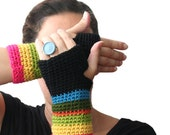 n e w - Multicolor crochet fingerless mittens - fingerless gloves - arm warmers - wrists warmers