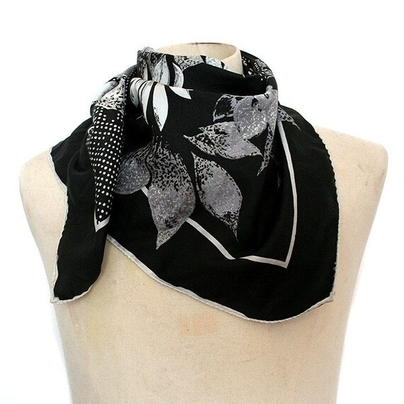 Black & Grey Flowers Fiorini Vintage Scarf - FREE Shipping