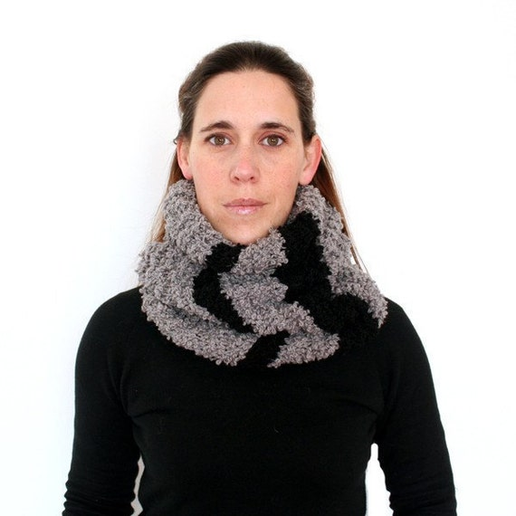 80% SALE // Chunky Grey and Black Striped Knit Cowl Scarf