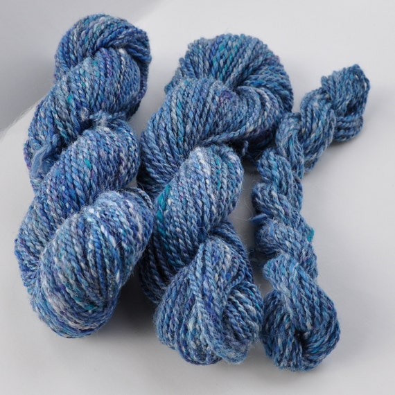 "Hand Spun Yarn, Alpaca and Merino, 150 yards ""Forever in Blue Jeans"""