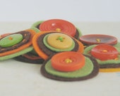 AUTUMN GLOW Button Baubles - Set of 9 Handmade Brown, Orange and Green Layered Felt and Button Embellishments - chocolatecupcake