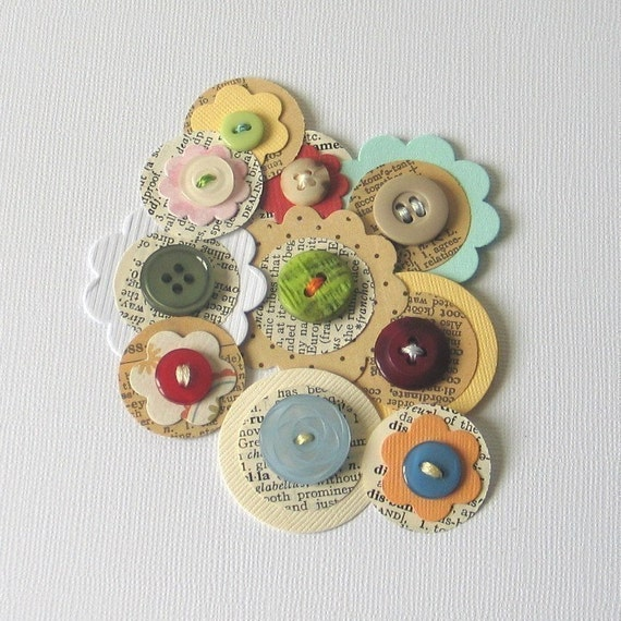 SALE................A Touch of Vintage - Paper and Button Embellishments x 10