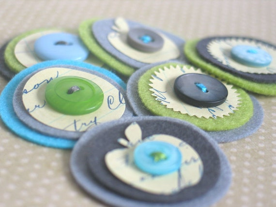 A Touch of Vintage - Felt & Vintage Ledger Paper Embellishments in gray, lime and aqua - Set of 6