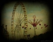 Paris carnival art photograph, PARIS STORIES 1, Ferris wheel and swing,turquoise sky, amusement park photography, ttv, dark, circus, mystery
