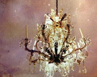 Chandelier photo, photograph, chandelier print, art photography, romantic, pink crystal castle, fine art print