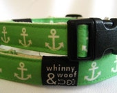 Dog Collar, Eco Friendly and Sustainable, Anchors Away, Size Large--RESERVED for tobywonkenobi