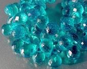 Destash..Bright Neon Blue Gem Quartz Faceted Briolette Drop Teardrop Bedas 5 beads set