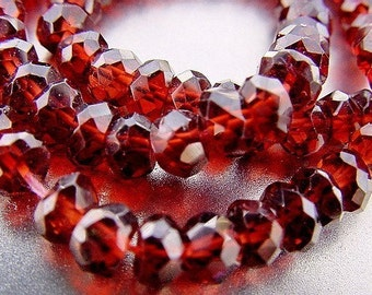 Sparkle Glowing HOT Red Genuine Garnet Faceted Rondelle 4.8mm Spacer Beads 10 beads set
