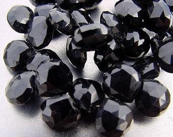 Super SALE...So elegant...Gem Black Onyx Faceted Heart Briolette Drop Beads 10-11mm 4 Beads set 15ct