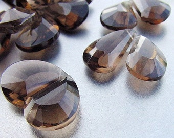 Gem Sable Brown Smokey Quartz Fancy Petal Large 15.7-19mm Faceted Briolette Pair PLUS Focal Drop Beads  TRIO