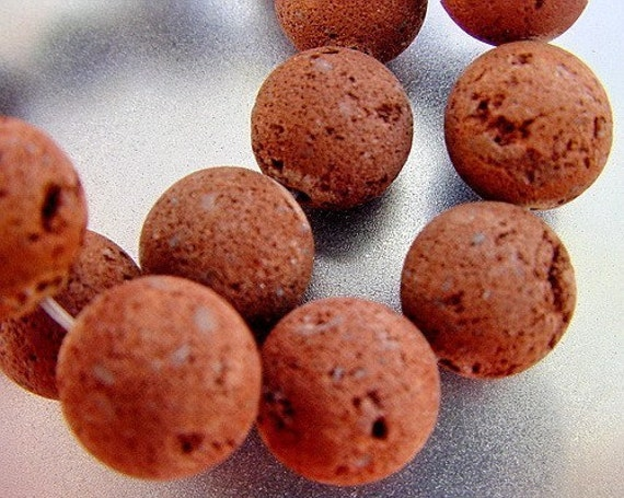 Take 14% off Entire Store Sale...Cinnamon Red Brown Lava Round Beads 6 beads set ORGANIC Look