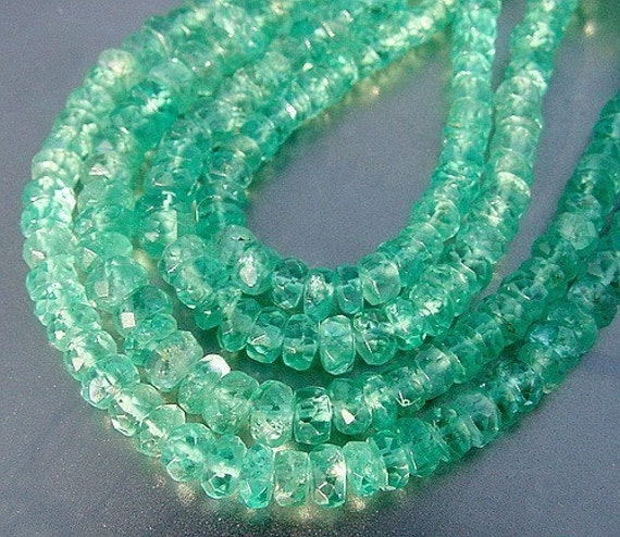 RESERVED for J...Blue Green Gem Apatite Large 4.75-5mm Faceted Rondelle beads 40 beads 24ct weight