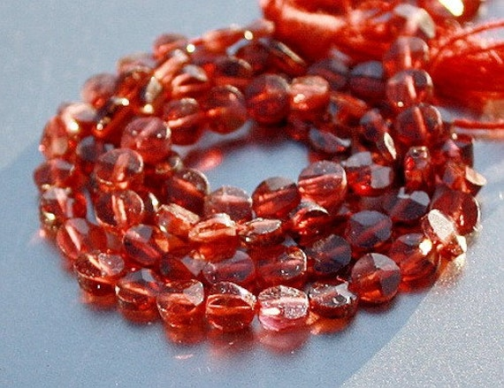 RED Gem Garnet Faceted Round Small Coin Beads strand 12 inch Beautiful Bright Color