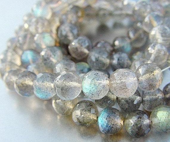 Best Gem Blue Green Fire Labradorite 6mm Faceted Ball Round Beads 10 beads set