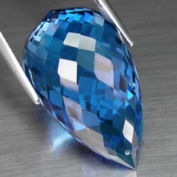 Take 14% off Entire Store Sale...Huge 35.75ct Top Grade AAA London Blue Topaz Fancy Faceted Teardrop Briolette Drop Bead Focal Pendant