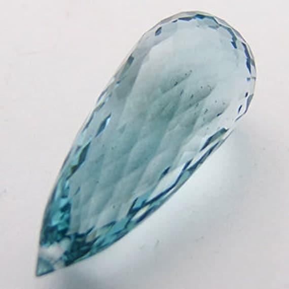 HUGE Top Grade AAA Light Sky Aqua Blue Quartz Fancy Faceted Briolette Drop Bead Focal Pendant