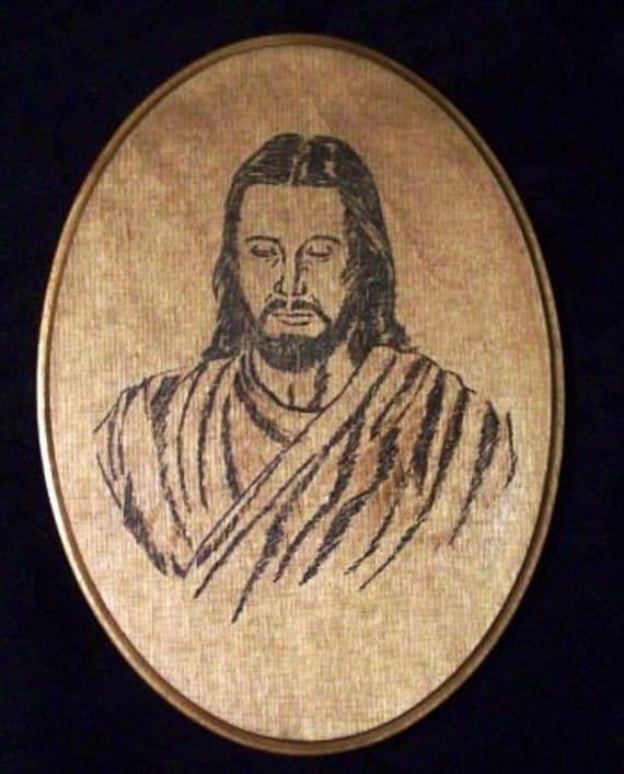 Jesus Christ Portrait Woodburning