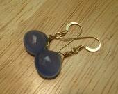 New, CLEARANCE Chalcedony Drop Earrings - Sea Blue w\/ Gold