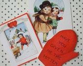 Vintage Die Cut Mitten Children Ice Skating Valentine Cards