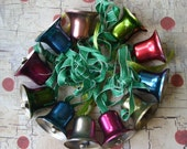 """Vintage 1"""" Colorful Metal Bell Christmas Ornament Lot"""
