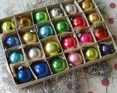 24 Vintage Miniature Glass Christmas Ornaments in Box
