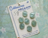 7 Vintage Seafoam Green Plastic Pearl Buttons on Card