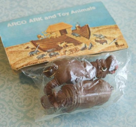 Vintage Plastic Hippos ARCO Ark and Toy Animals in Package