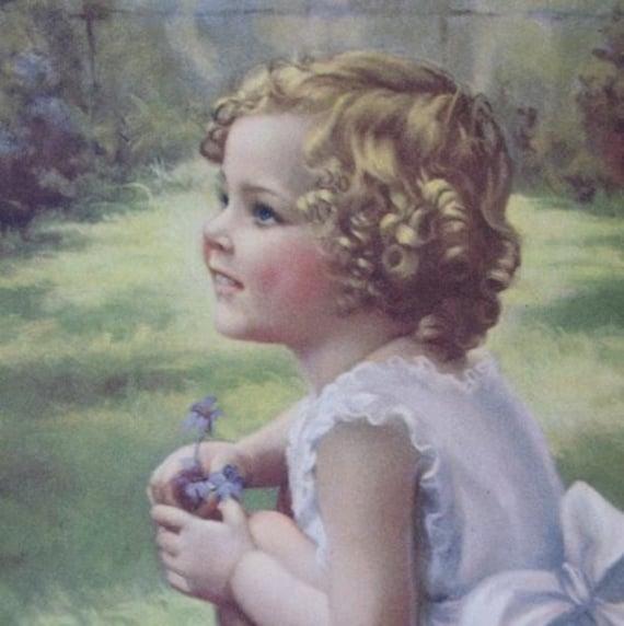 Vintage Bluebirds For Happiness Little Girl Bird Print