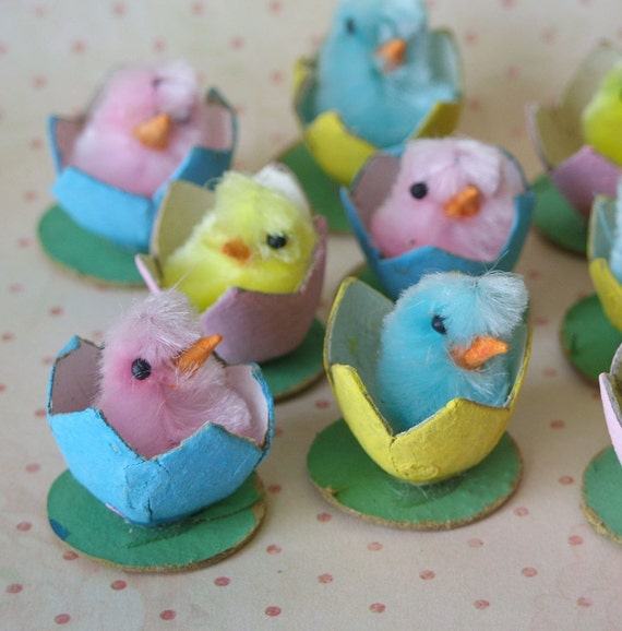 3 Vintage Pink Blue Yellow Chenille Easter Chicks in Egg Shells Japan