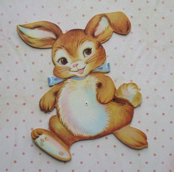 Vintage Mini Dennison Die Cut Bunny Easter Decoration
