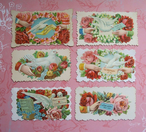 6 Victorian Hidden Name Calling Cards Doves Hands Flowers