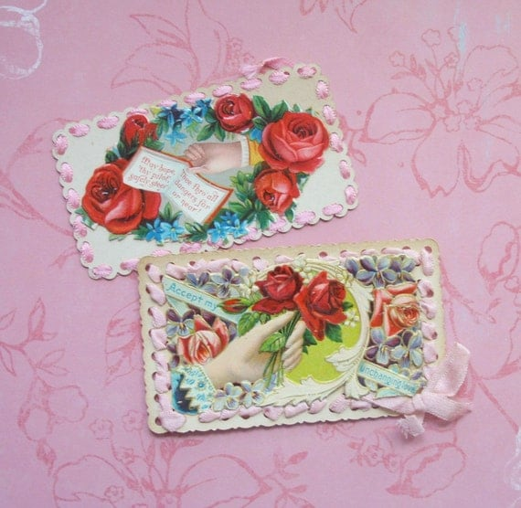 Victorian Calling Cards with Pink Ribbon Trim Hidden Names