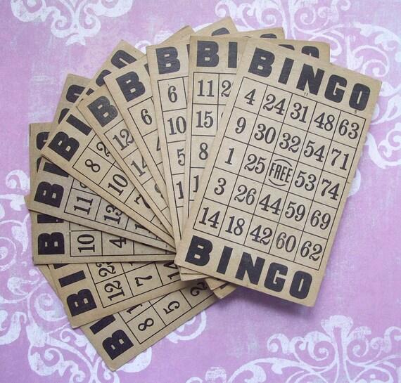 10 Vintage Aged Bingo Cards for Altered Art