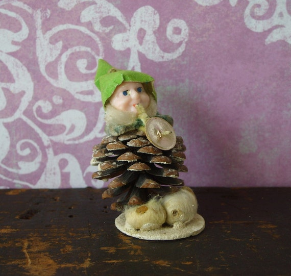 Vintage Pinecone Chenille Christmas Elf Playing Horn Japan