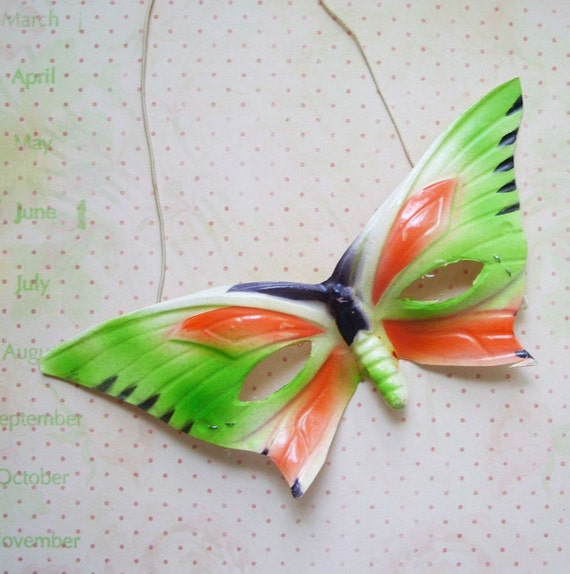 Vintage Butterfly Mask Lime Green and Orange