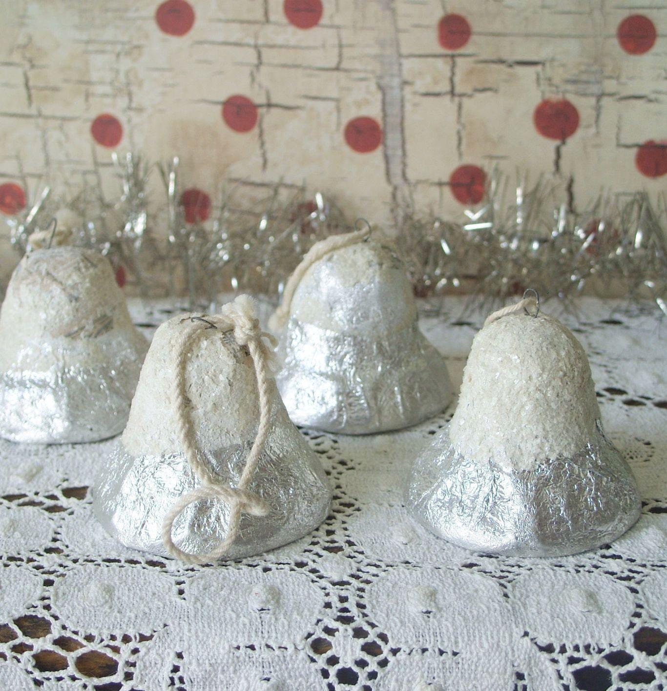 Reserved for karen 4 vintage paper mache foil christmas bell for Paper mache christmas