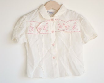 Vintage 1950's Toddler Girl Blouse - Girl with Umbrella (2/3T)