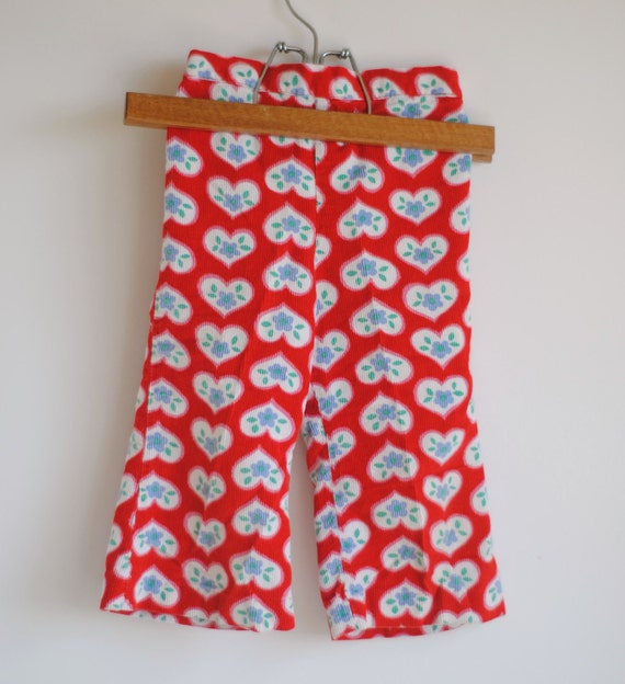 Vintage Toddler Girl Pants - Red HEARTS and FLOWERS Corduroy (18m)