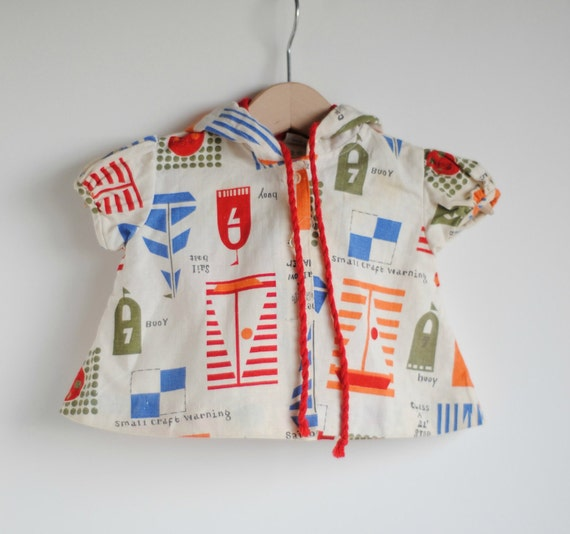Vintage 1960's Baby Girl Jacket/Cover Up - MID-CENTURY SAILBOATS (0 to 3m)