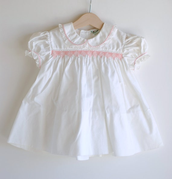 Vintage 1950's Baby Girl Dress - White with Pink Smocking (12m)