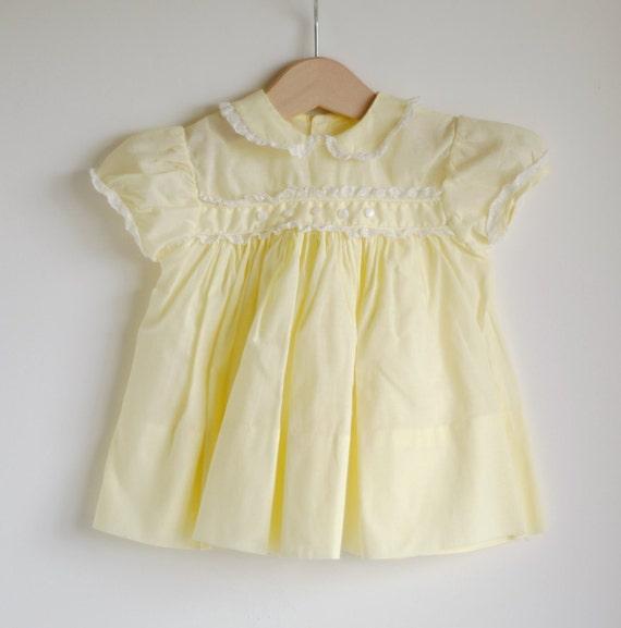 Vintage 1950's Baby Girl Dress - Yellow Peter Pan Collar (3m)