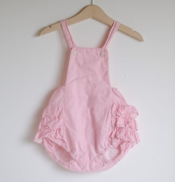 Vintage 1950's Baby Girl Ruffle Romper - Pink Biased Gingham (9 to 12m)