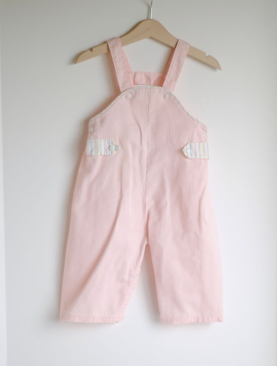 Vintage 1950's Baby Girl Overalls -  PINK Striped Tab (12m)