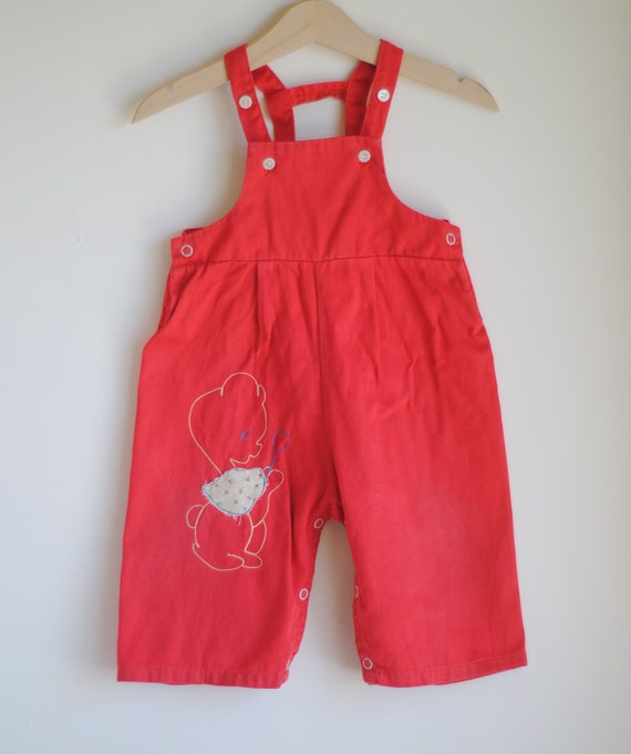 Vintage 1950's Baby Girl Overalls - RED Animal Wearing Cape (9m)