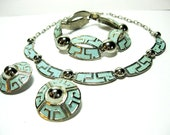 1960s Aluminum Necklace Set: Turquoise Enamel Silvertone Coconutroad on Etsy
