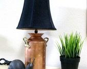 Copper Table Lamp Vintage 1950s Brass Handles