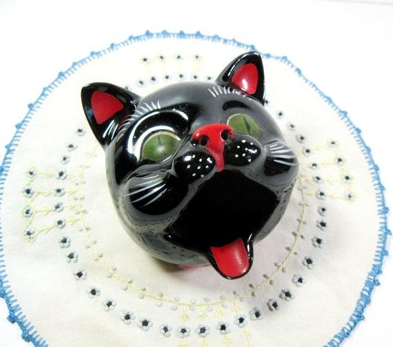 Vintage Shafford Black Cat Ashtray 1950s Japan Redware