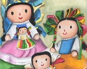 Mexican Rag dolls - Giclee print from original art by Mirlette Islas